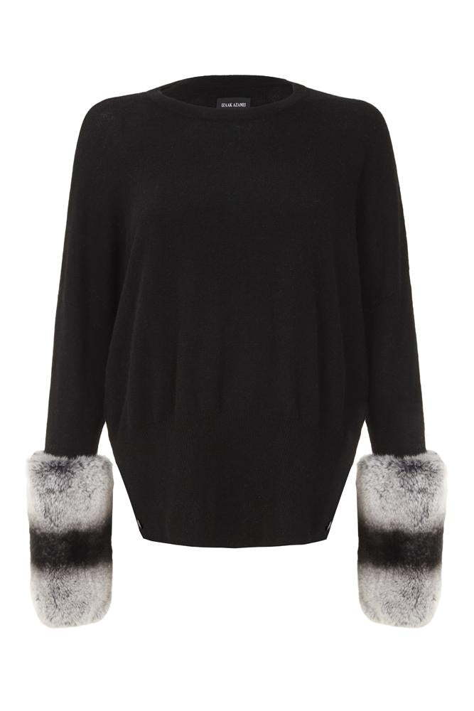 Black Chinchilla Cuff Sweater