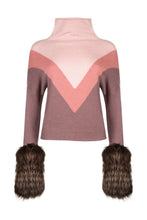 Load image into Gallery viewer, Triple Tone Pink V Print Cuff Sweater