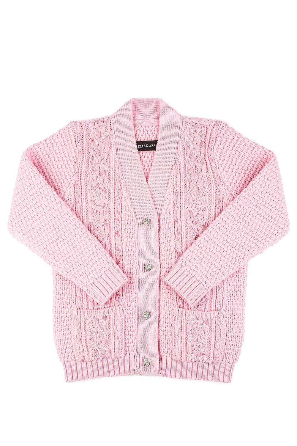 Little IA: Pink Sequin Embellished Cardigan