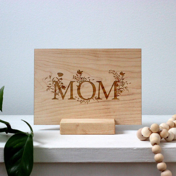 Wooden Mom Floral Typography Art Card
