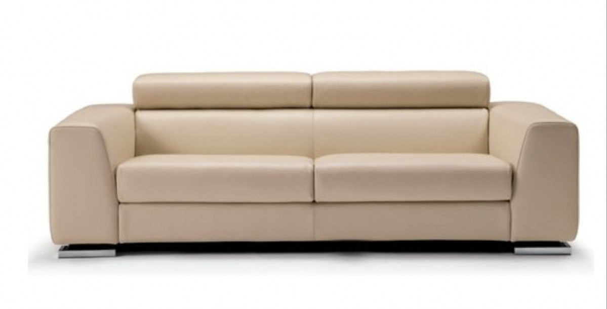 Contemporary Beige Italian Leather Sofa Set - Art Urbane