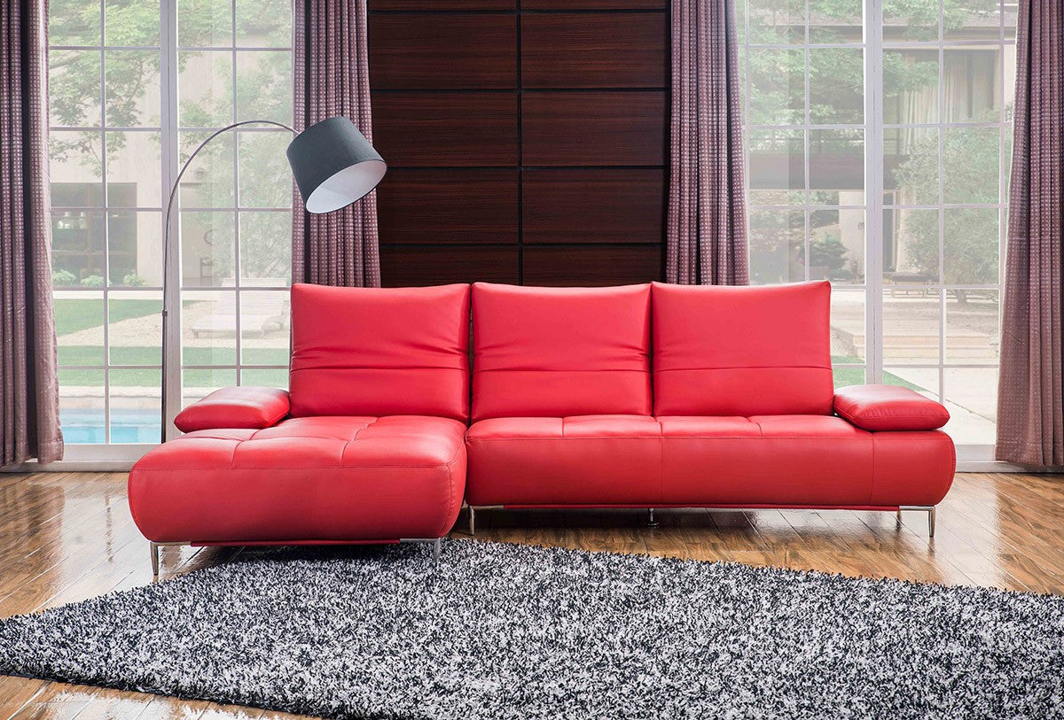 Modern Red Italian Leather Sectional Sofa