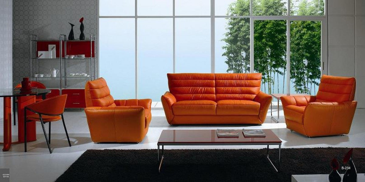 Modern Line Tufted Leather Sofa and Loveseat, Orange