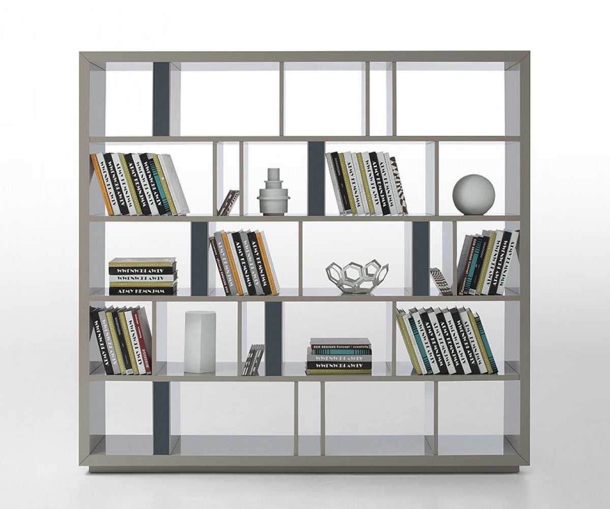 Grey modern bookshelf room divider for Room divider art