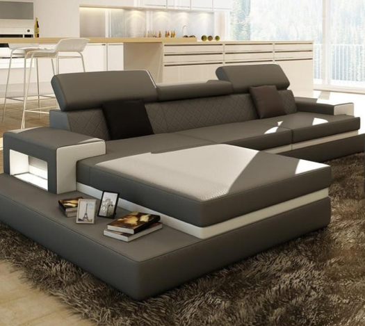 Loft Grey And White Leather Sectional Sofa W/Coffee Table, Design, Art  Urbane ...