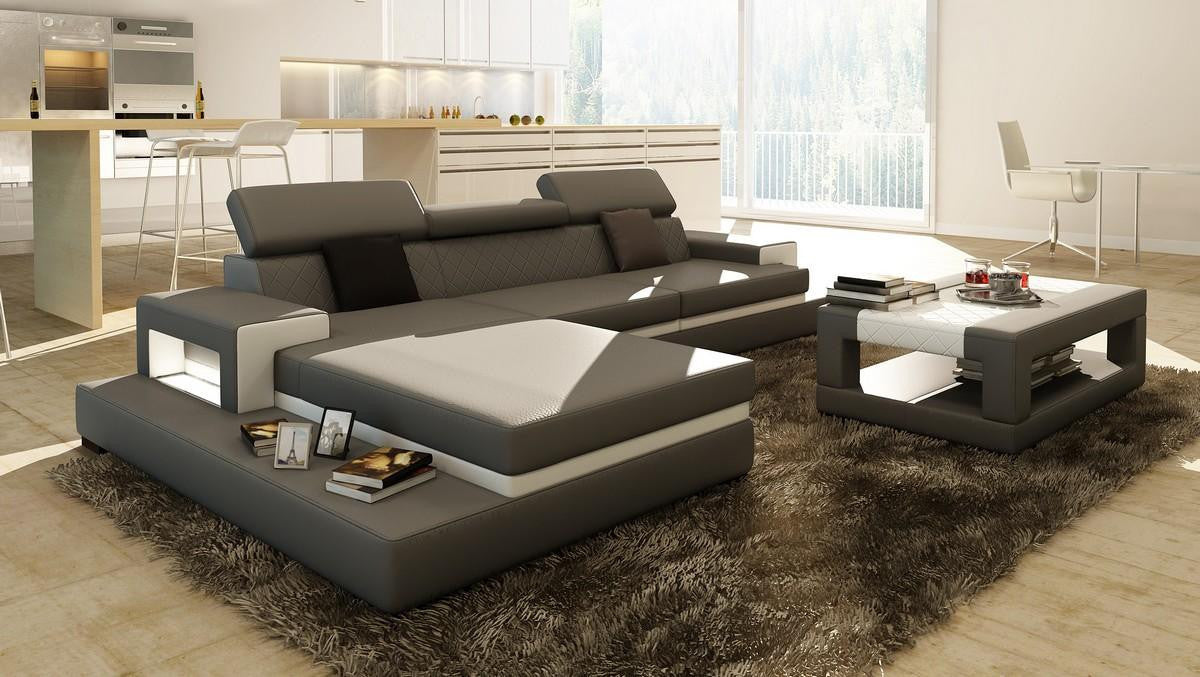 loft grey and white leather sectional sofa wcoffee table design art urbane