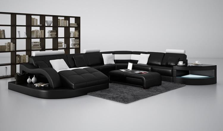 ... Moderna Black And White Bonded Leather Sectional Sofa, Design, Art  Urbane, Art Urbane ...