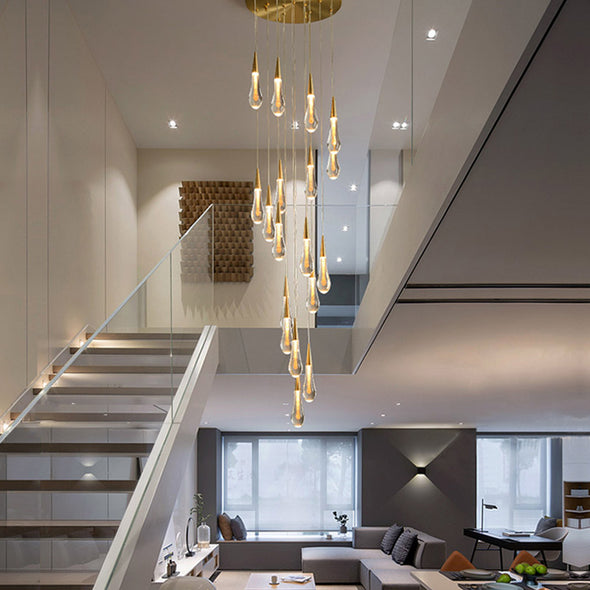 Glass Raindrop Stair Chandelier Novelty Long Chandelier For Staircase