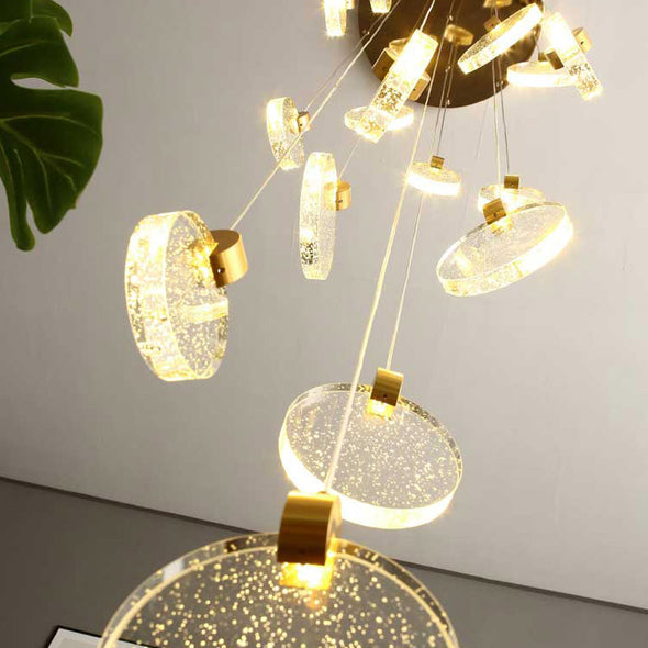 Minimalist Glass Chandelier Bubble Crystals Hanging Light For Stair