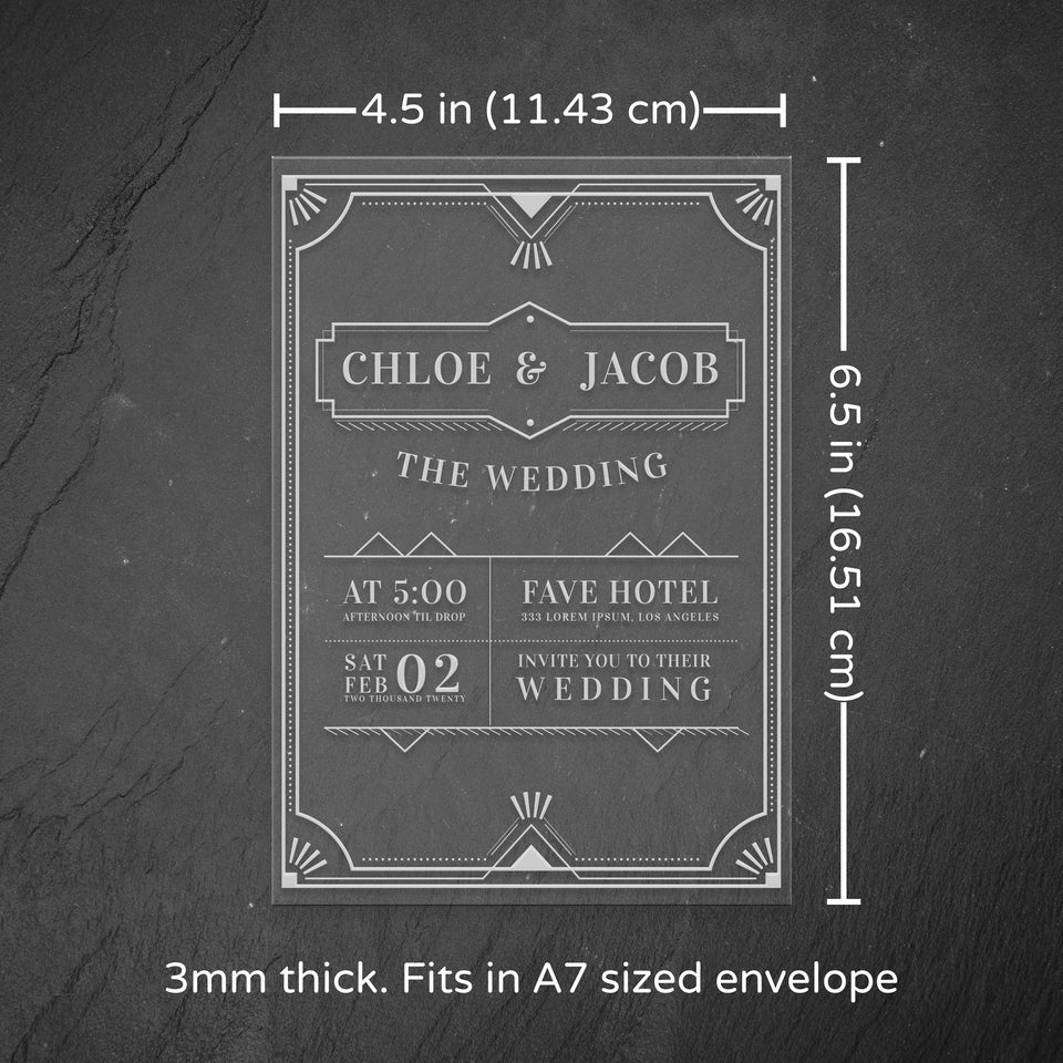 Personalized Acrylic Invitation - Chloe- Maple, Cherry or Walnut.