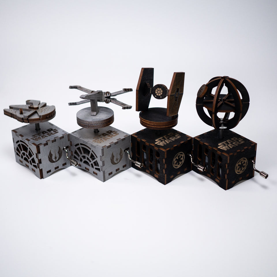 Star Wars Music Box Set - Millenium Falcon, X Wing, Tie Fighter and Death Star