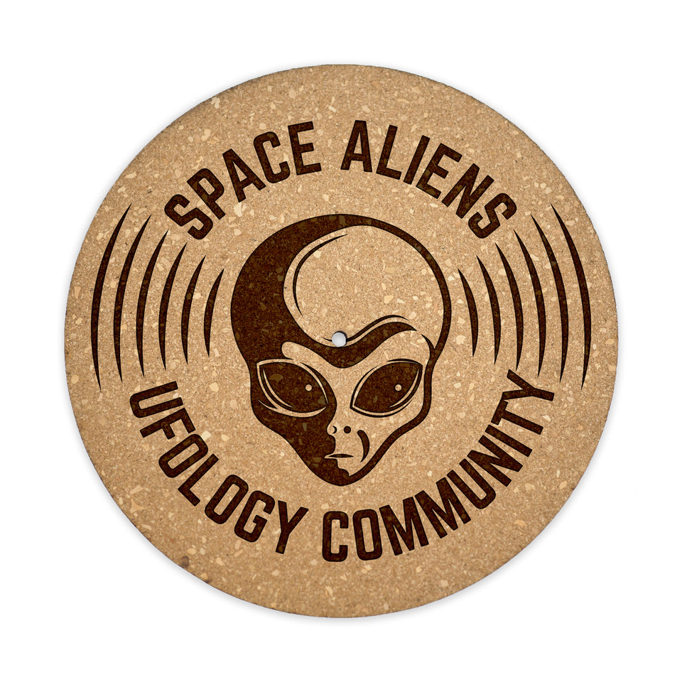 Turntable Slipmat - Space Aliens - 6mm Thick Cork Mat - Personalized gift for DJ, Vinyl Record Collector, Music Lover, Vintage