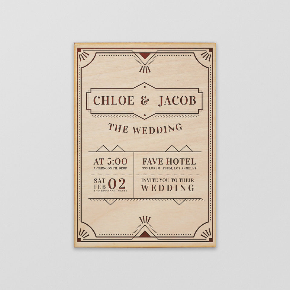 Personalized Wood Invitation - Chloe - Maple, Cherry or Walnut.