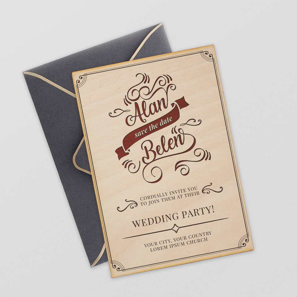 Personalized Wood Invitation - Belen - Maple, Cherry or Walnut.