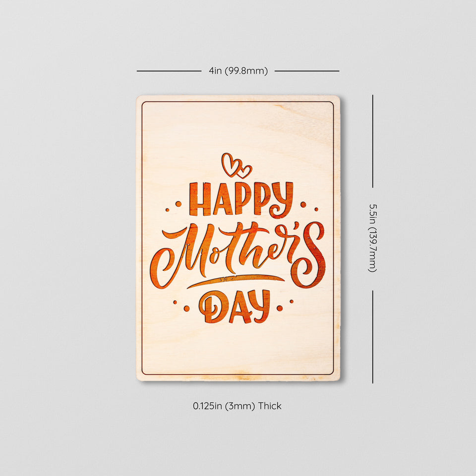 Premium Greeting Card - Happy Mother's Day - Wood Postcard