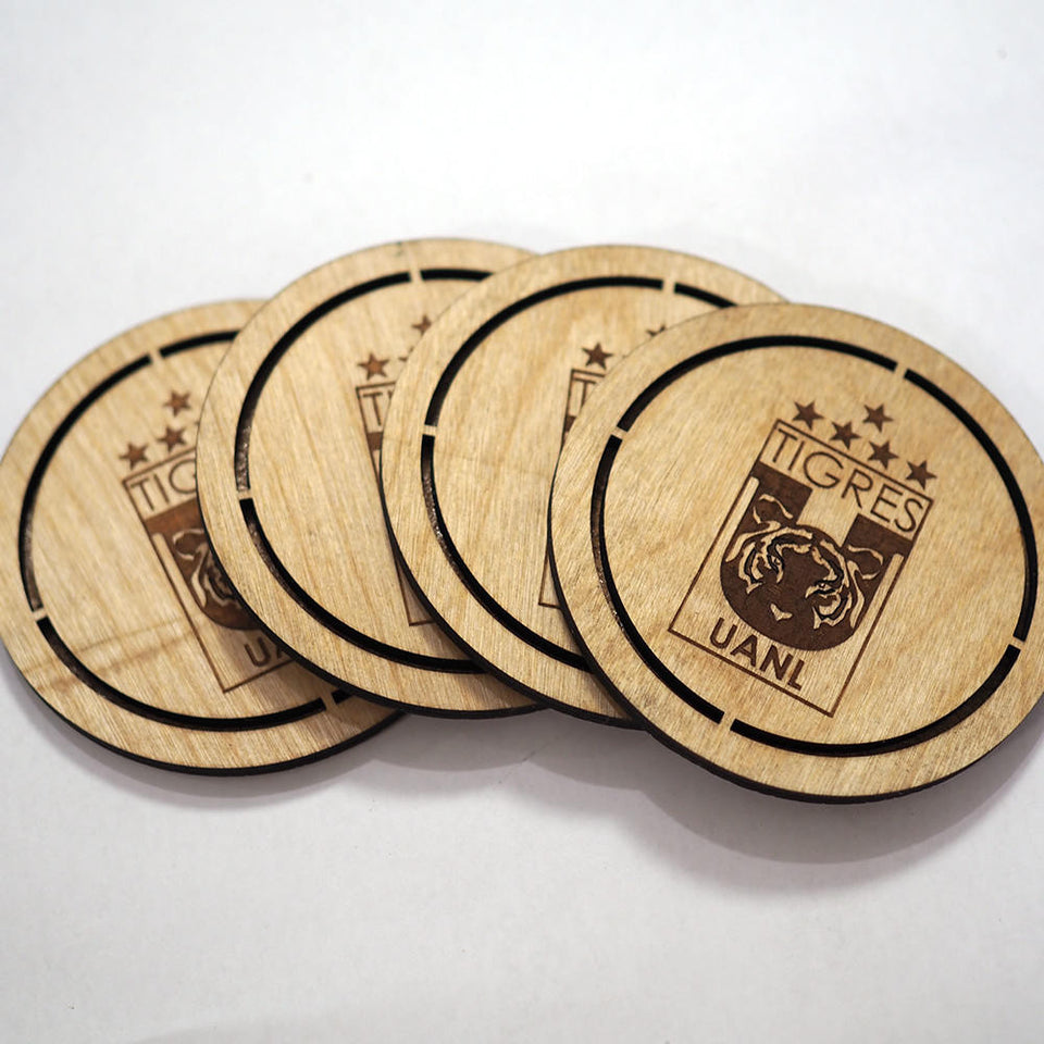 Tigres UANL Coasters Set -  Personalized and custom engraved.
