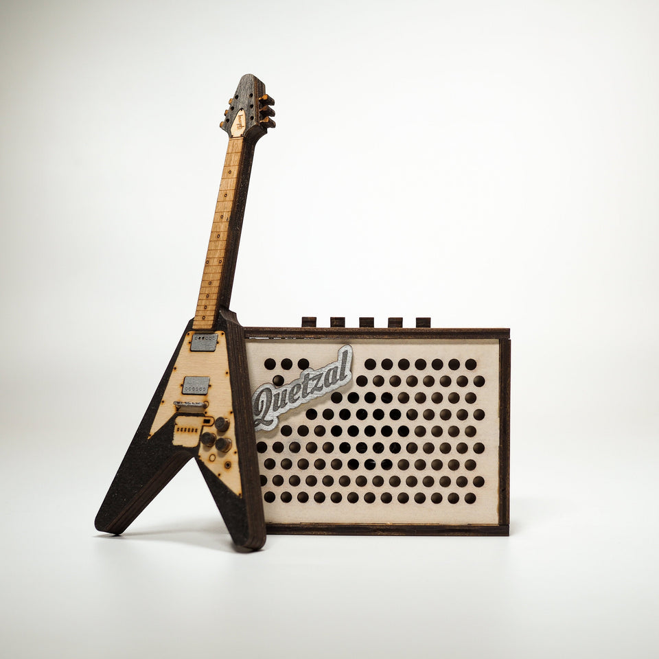 Flying V Mini Guitar and Amplifier -Personalized Electronic Mp3 Music Box.