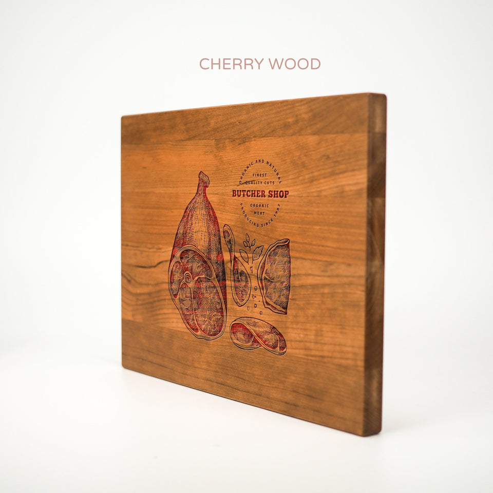 Personalized Cutting Board - Butcher Shop - Maple, Cherry or Walnut