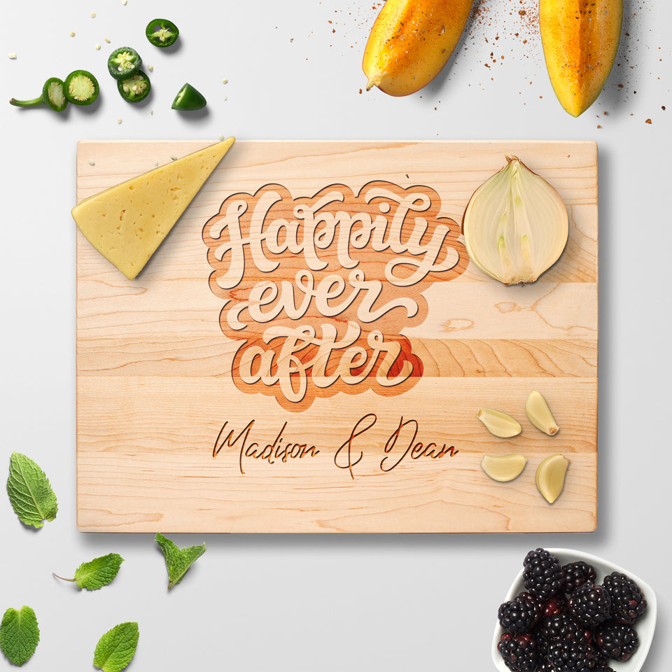 Personalized Cutting Board - Happily Ever After - Maple, Cherry or Walnut