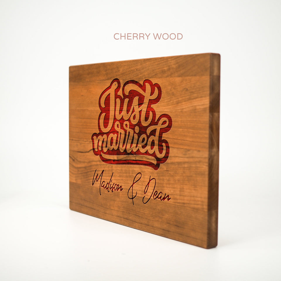 Personalized Cutting Board - Just Married - Maple, Cherry or Walnut