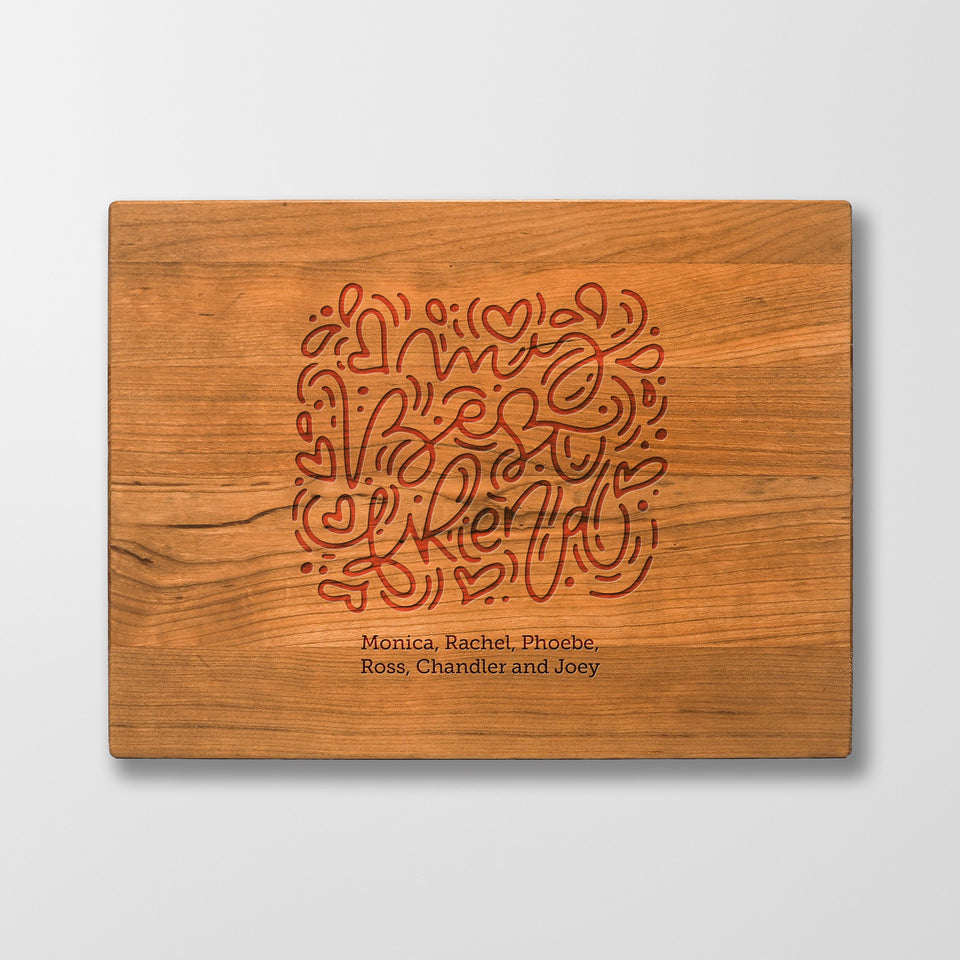 Personalized Cutting Board - Best Friends - Maple, Cherry or Walnut