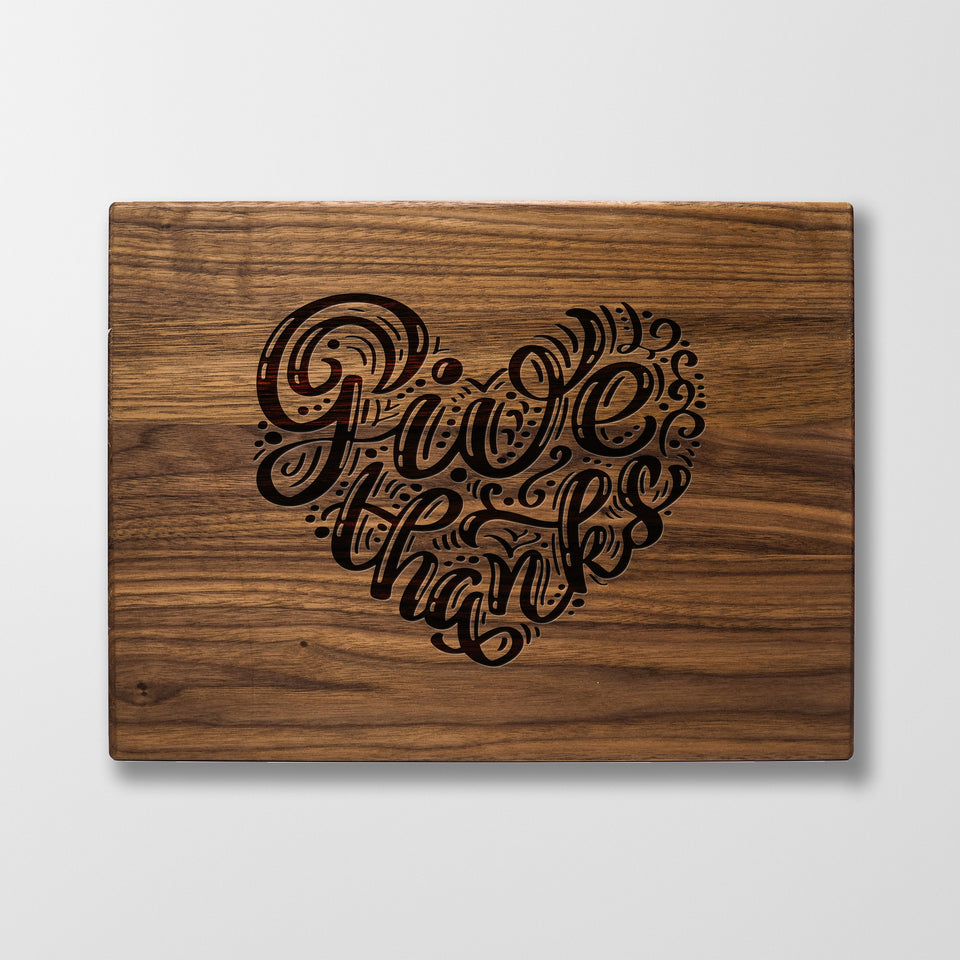 Personalized Cutting Board - Give Thanks - Maple, Cherry or Walnut