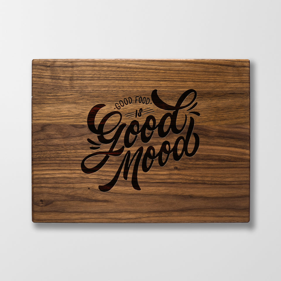 Personalized Cutting Board - Good Food Good Mood - Maple, Cherry or Walnut