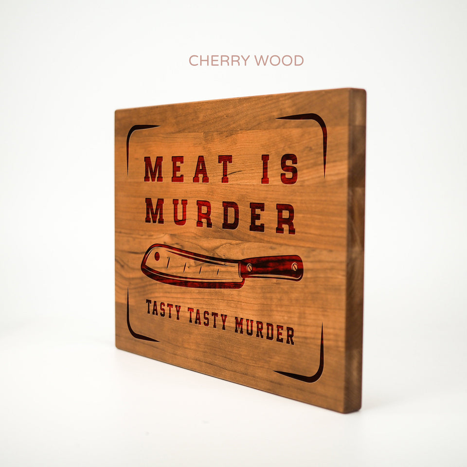 Personalized Cutting Board - Meat is Murder - Maple, Cherry or Walnut