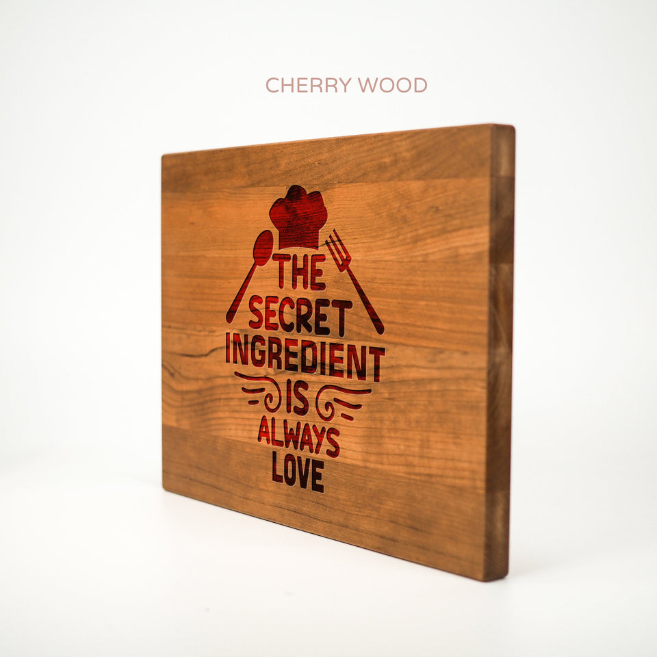 Personalized Cutting Board - Secret Ingredient - Maple, Cherry or Walnut