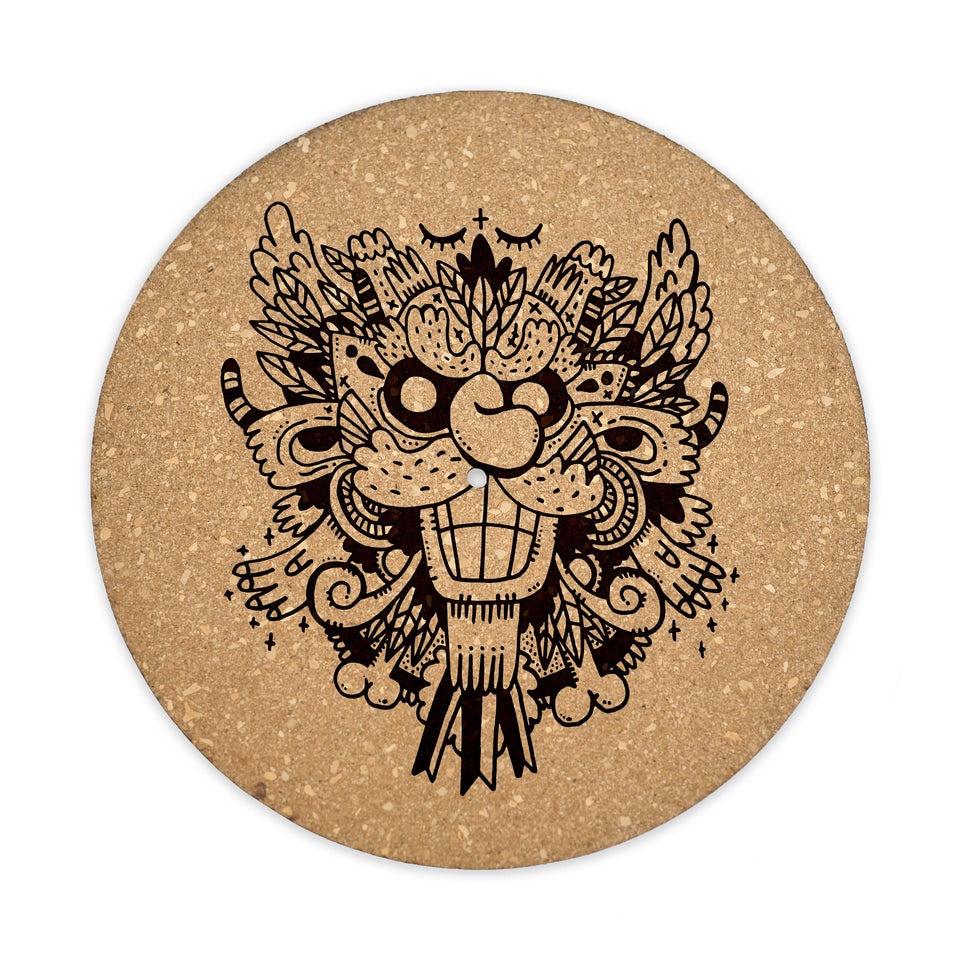 Turntable Slipmat - Demon - 6mm Thick Cork Mat - Personalized gift for DJ, Vinyl Record Collector, Music Lover, Vintage