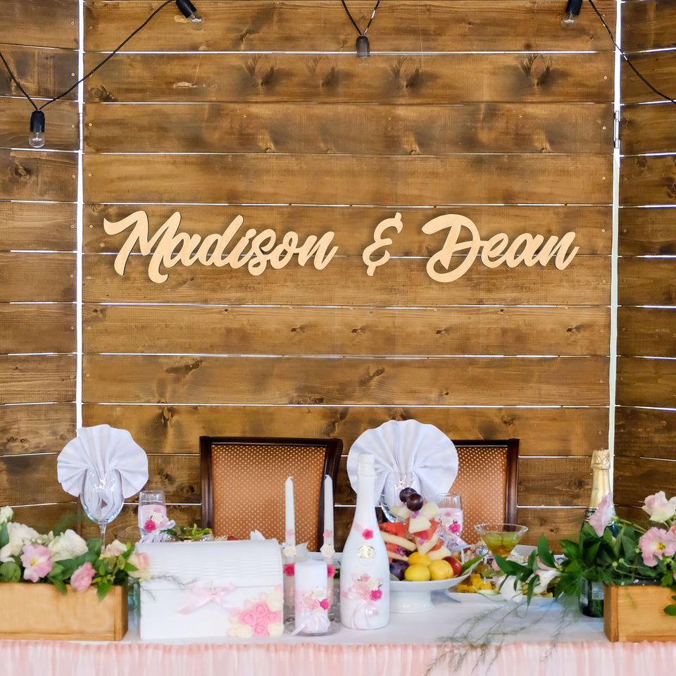 Couples Names Wood Sign For Wedding/Event Backdrop