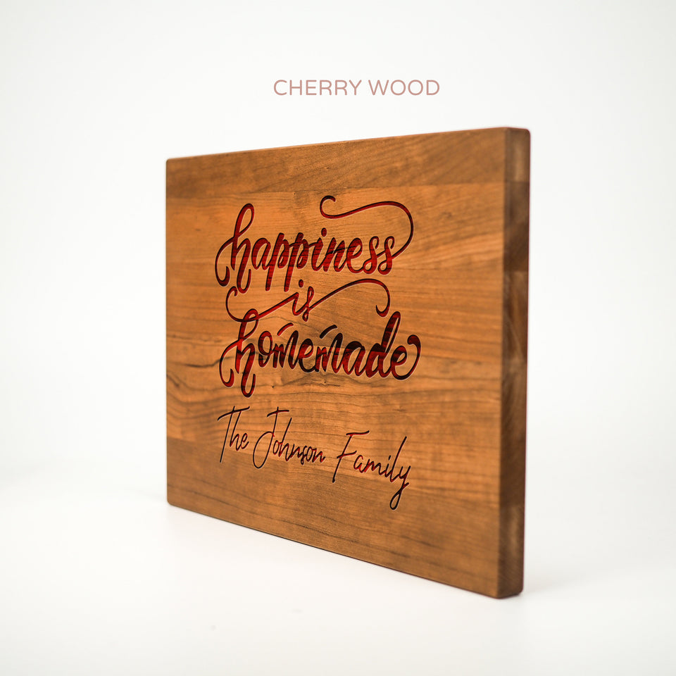 Personalized Cutting Board - Happiness is Homemade - Maple, Cherry or Walnut