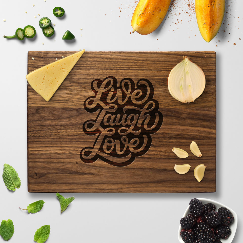 Personalized Cutting Board - Live Laugh Love - Maple, Cherry or Walnut