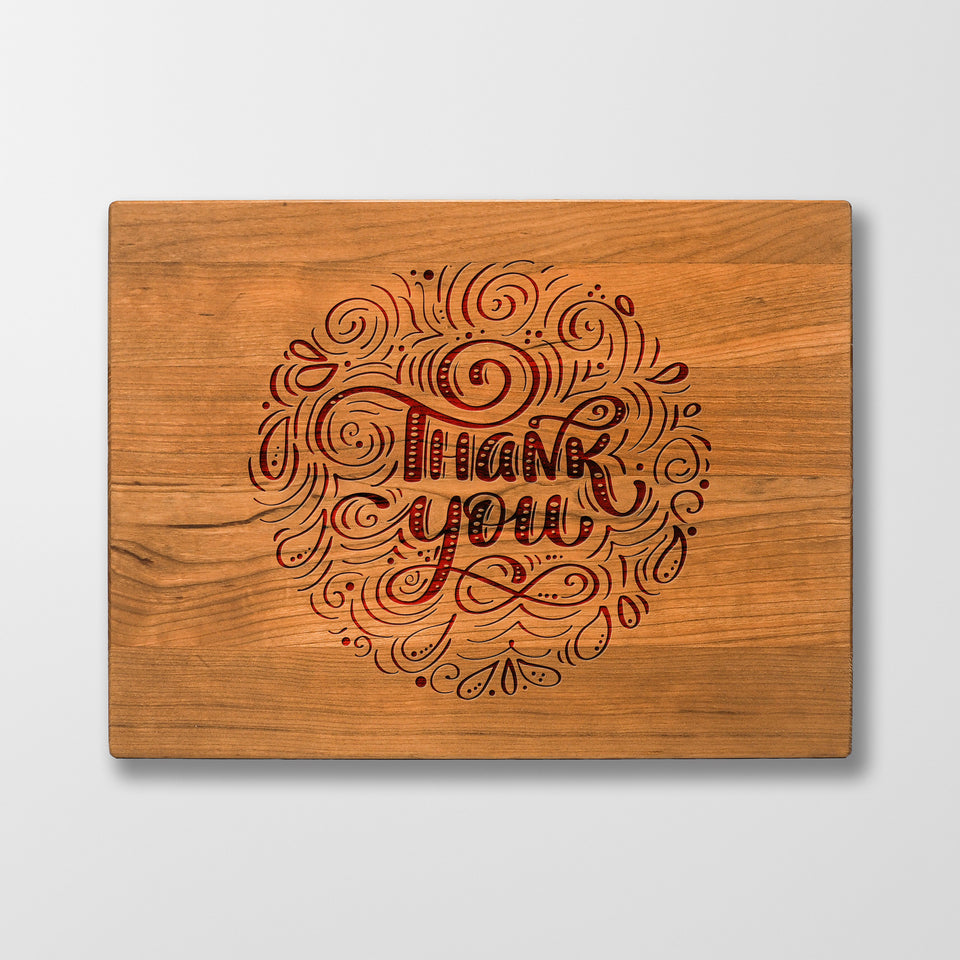 Personalized Cutting Board - Thank You - Maple, Cherry or Walnut