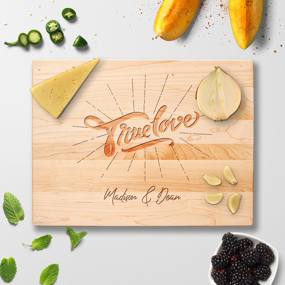 Personalized Cutting Board - True Love - Maple, Cherry or Walnut