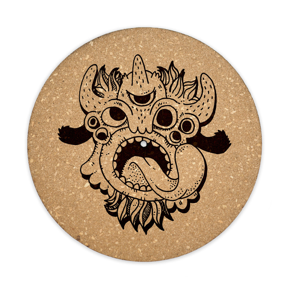 Turntable Slipmat - Monster - 6mm Thick Cork Mat - Personalized gift for DJ, Vinyl Record Collector, Music Lover, Vintage
