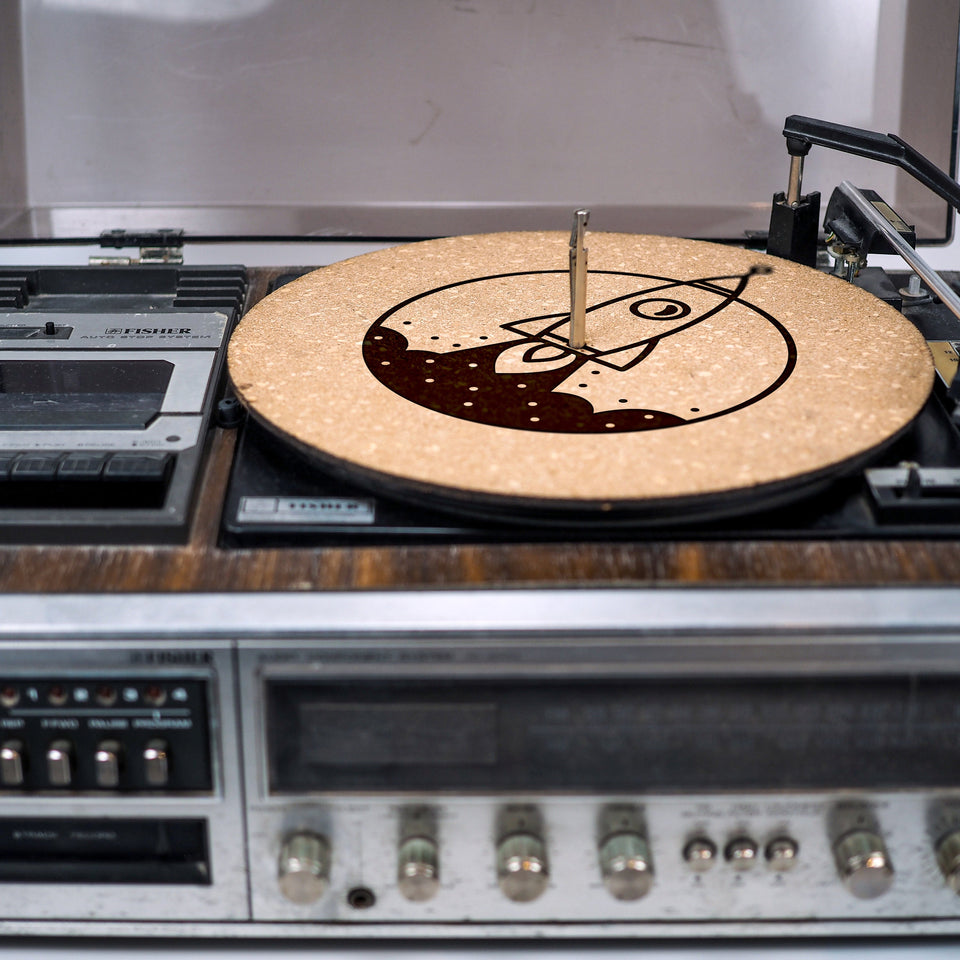 Turntable Slipmat - Rocket - 6mm Thick Cork Mat - Personalized gift for DJ, Vinyl Record Collector, Music Lover, Vintage