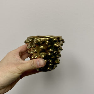 Textured Gold Cover Pot 3""