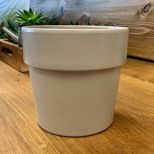 "Matte Ceramic cover pot (5""x5"") with rim  GREY"