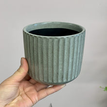 "Load image into Gallery viewer, Ceramic Ribbon Cover Pot 4""x4"" GREY"