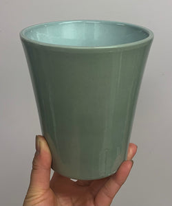 "Ceramic cover pot Light Grey  (5""x5.5"")"