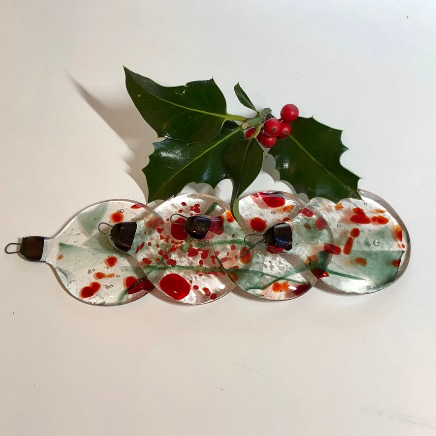 Holly Berry Ball Ornaments
