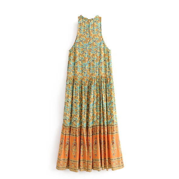 ROSIE™: Bohemian Beach Button Sleeveless Maxi dress