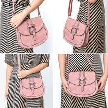 Load image into Gallery viewer, CEZIRA Small Saddle Crossbody Bag - Vegan Bag Faux Leather