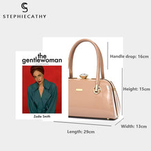 Load image into Gallery viewer, STEPHIECATHY Patent Faux Leather Handbag - Vegan Bag Faux Leather