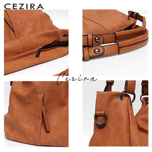CEZIRA Tote Shoulder Bag - Vegan Bag Faux Leather
