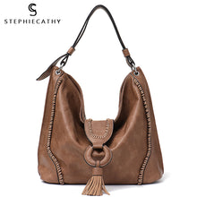 Load image into Gallery viewer, STEPHIECATHY Large Tassel Shoulder Bag - Vegan Bag Faux Leather
