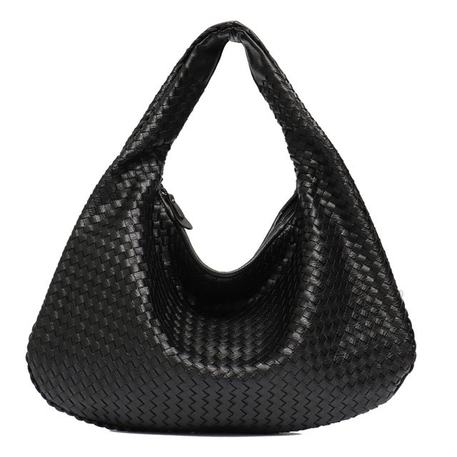 STEPHIECATHY Handmade Woven Hobo Shoulder Bag - Vegan Bag Faux Leather