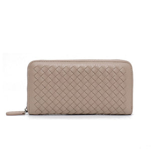STEPHIECATHY Woven Long Clutch Wallet - Vegan Bag Faux Leather