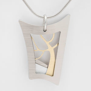 Brushed Aluminium Necklace - Gold Tree in Warped Rectangular Frame